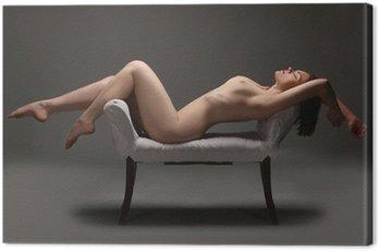 Canvastavla Konstnärlig Naken kvinna i Studio