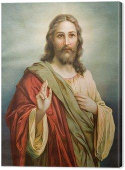 Canvastavla Kopia av typiska katolska bilden av Jesus Kristus