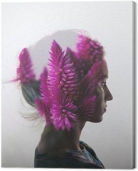 Canvastavla Kreativa dubbel exponering med porträtt av ung flicka och blommor