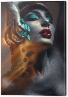 Canvastavla Kreativa skönhet porträtt med cyan squama