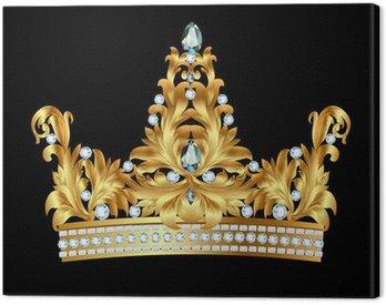 Canvastavla Kunglig guldkrona med juveler