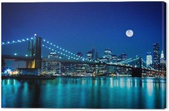 Canvastavla Kvällsmotiv Brooklyn Bridge och New York City