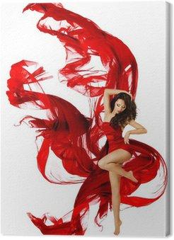 Canvastavla Kvinna dansar i röd klänning, modell vinka dans