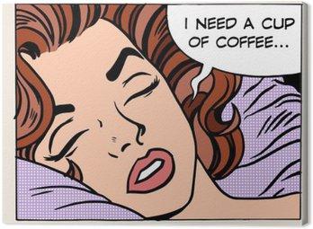 Canvastavla Kvinna drömmar morgon kopp kaffe