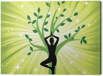 Canvastavla Kvinna i yoga träd asana
