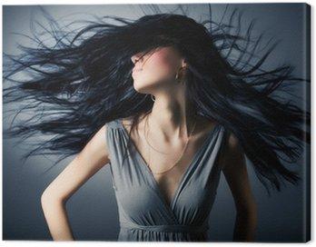 Canvastavla Kvinna med fladdrande hår