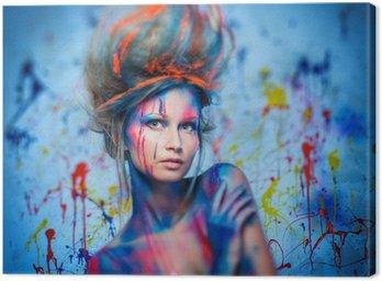 Canvastavla Kvinna musa med kreativ kroppskonst