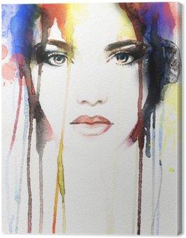 Canvastavla Kvinna porträtt .abstract akvarell