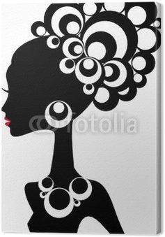 Canvastavla Kvinna silhuett med svart hår och juveler