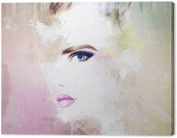 Canvastavla Kvinna stående .abstract akvarell .fashion bakgrund