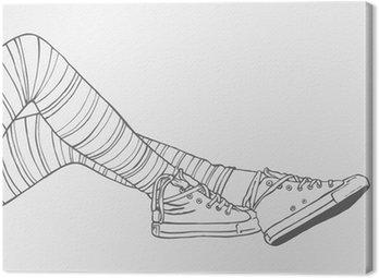 Canvastavla Kvinnliga ben i randiga strumpor och sneakers