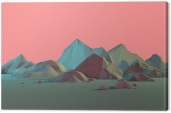 Canvastavla Låg Poly 3D fjällmiljö med pastell