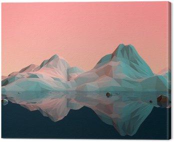 Canvastavla Låg Poly 3D fjällmiljö med vatten och reflektion