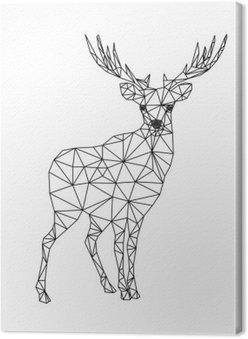Canvastavla Låg poly karaktär rådjur. Motiv för xmas. Jul illustration i linje konst stil. Isolerad på vit bakgrund.
