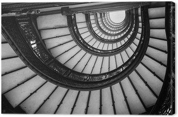 Canvastavla Låg vinkel syn på spiraltrappa, Chicago, Cook County, Illino