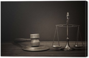 Canvastavla Lagen skalor, domare klubban på tabellen. Symbol för rättvisa