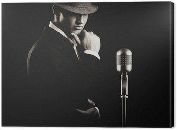 Canvastavla Lågmäld porträtt av jazzsångerska i hatt i mörkret.