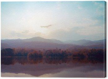Canvastavla Landskap av sjön bergen i höst - vintage stilar.