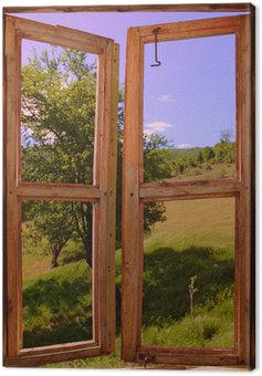 Canvastavla Landskap sett genom ett fönster
