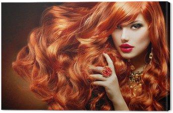 Canvastavla Långt lockigt rött hår. Modekvinna porträtt