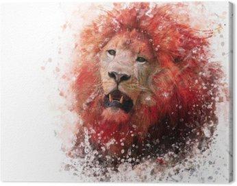 Canvastavla Lion Head vattenfärg