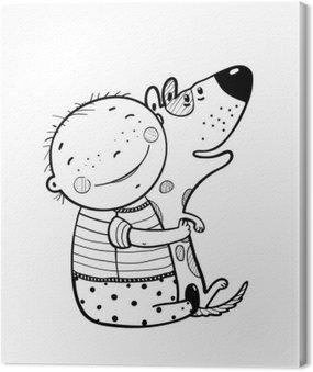 Canvastavla Little Boy kramar hund Bästa Happy Friends Outline