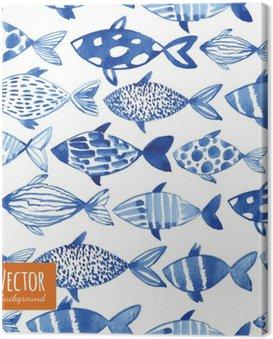 Canvastavla Ljus vattenfärg blå fiskar på svart bakgrund.