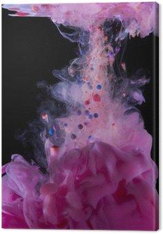 Canvastavla Magenta bläck under vattnet, isolerad på svart bakgrund.