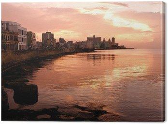 Canvastavla Malecon på solnedgången. Havanna (Kuba)