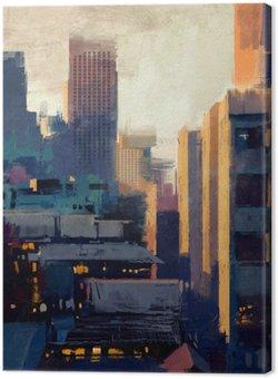 Canvastavla Målning av skyskrapor på solnedgången