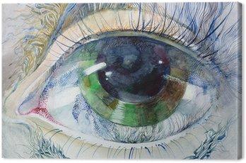Canvastavla Målning av vackra mänskliga ögat