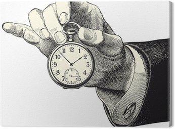 Canvastavla Man hand som håller en klocka