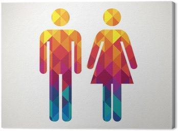 Canvastavla Man & kvinna toalett skylt med färgglada diamant