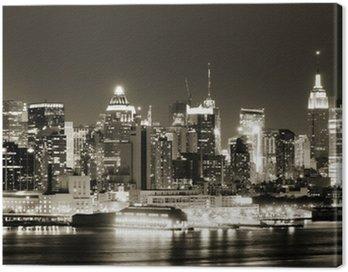 Canvastavla Manhattan västra sidan på natten