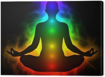 Canvastavla Mänsklig energikropp, aura, chakra i meditation