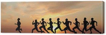 Canvastavla Marathon, svarta silhuetter löpare på solnedgången