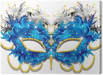 Canvastavla Maschera Carnevale di Piume-Fjädrar Carnival Mask-3-vektor