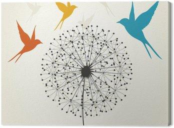 Canvastavla Maskros och fågel