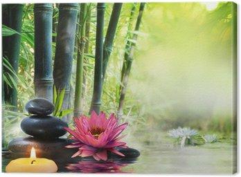 Canvastavla Massage i naturen - lilja, stenar, bambu - zen begrepp
