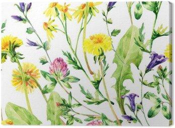 Canvastavla Meadow vattenfärg vilda blommor seamless