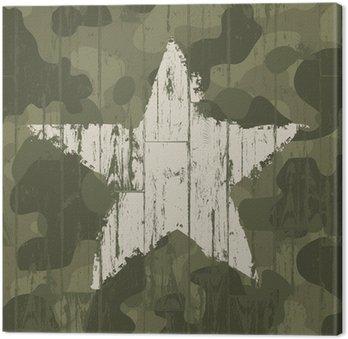 Canvastavla Militär kamouflage bakgrund med stjärna. Vector, EPS10.