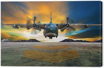 Canvastavla Militärt plan landar på flygvapen banor mot vackra dus