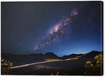 Canvastavla Milky vägen över Mt.Bromo, East Java, Indonesien