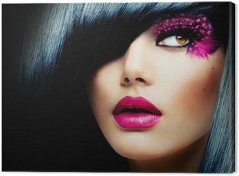Canvastavla Mode Brunette modell porträtt. Frisyr