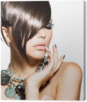 Canvastavla Mode Glamour Beauty Girl med elegant frisyr och smink