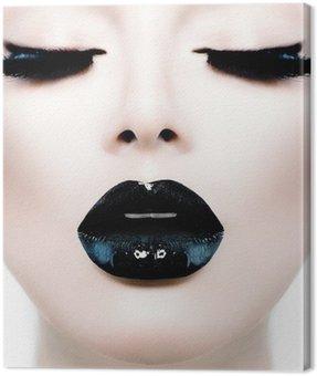 Canvastavla Mode skönhet modell flicka med svart smink och Långa lushes