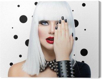 Canvastavla Mode skönhet modell flicka. Punk Style kvinna isolerade på vit