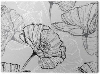 Canvastavla Monokrom seamless med vallmo. Handritade blommig bakgrund
