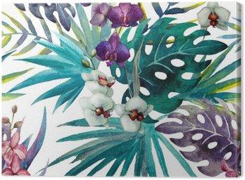 Canvastavla Mönster orkidé hibiskus lämnar vattenfärg tropikerna