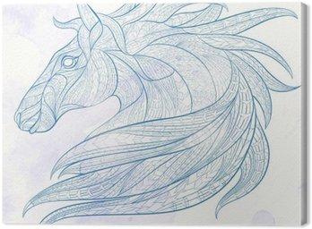 Canvastavla Mönstrad hästens huvud på grungebakgrund. Afrikansk / indiska / totem / tatuering design. Den kan användas för konstruktion av en t-shirt, väska, vykort, en affisch och så vidare.